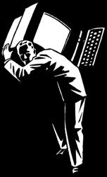 Homem comum carregando o Peso da tecnologia
